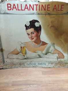 "Vintage Cardboard Ballantine Ale Beer Sign 43"" X 34.5"""