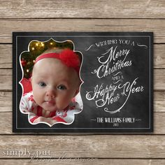 Merry Christmas Chalkboard Photo Card | Merry Christmas
