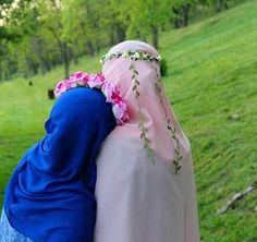 bff blue and pink Islamic Fashion, Muslim Fashion, Hijab Fashion, Fashion Muslimah, Beautiful Muslim Women, Beautiful Hijab, Hijabi Girl, Girl Hijab, Muslim Girls
