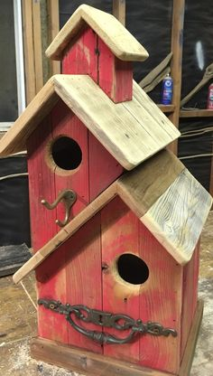 Outdoor Woodworking Projects threesistersharvest on etsy double stacked with vintage decor threes. - - Woodworking Projects threesistersharvest on etsy double stacked with vintage decor threes. Wooden Bird Houses, Bird Houses Painted, Decorative Bird Houses, Bird Houses Diy, Wood Projects, Woodworking Projects, Woodworking Plans, Unique Woodworking, Homemade Bird Houses