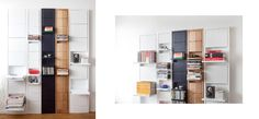 Shelving that lays flat against the wall unless a shelf is in use, and they hold a TON of stuff. I want to line a wall with these! Small Space Living, Small Spaces, Unique Bookshelves, Loft Interiors, Urban Loft, A Shelf, Adjustable Shelving, E Design, Home Organization