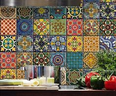 Spice up your kitchen's decor by covering the walls with this Mexican Talavera tile decal. Made from vinyl, they can be easily placed onto the walls…