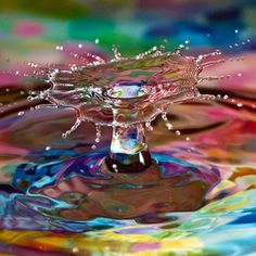Water dropped into a rainbow