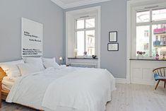 New bedroom color Blue Gray Bedroom, Bedroom Colors, Monochrome Bedroom, Small Bedroom Designs, New Room, Scandinavian Design, My Dream Home, Decorating Your Home, Master Bedroom