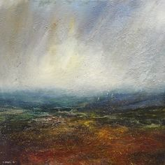 """Clearing Shower, Burbage Moor"" by Kristan Baggaley - Mixed Media on Canvas"