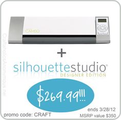Silhouette GIVEAWAY plus discount info! giveaway ends 3/28/12