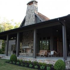 Or Extend the porch around the side of the house ..including the fire place..nice use of stone and color..