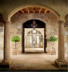 At the end of the courtyard and colonnade is the front entrance to the house.