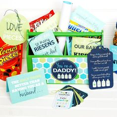 East Coast Creative After Dark: The Game of Love New Daddy Gift 1 New Daddy Gifts, Gifts For New Dads, Fathers Day Gift Basket, New Dad Survival Kit, Candy Bar Gifts, Basket Labels, Creative Pregnancy Announcement, Candy Quotes, Game Of Love