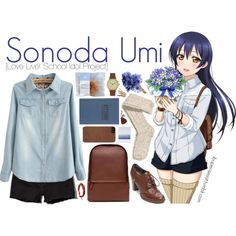Sonoda Umi [Love Live! School Idol Project] by ibuperisesat on Polyvore featuring moda, Abercrombie & Fitch, H&M, Tommy Hilfiger, Zara, Void, Chan Luu, Incase, Tanner Goods and Umi