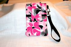 Cell Phone Bag Pink Black Gray Brushed Stroked by MeeMawsBags
