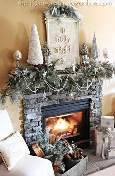 25 Unique Christmas Mantels Christmas Mantel - A bit cluttered, but I like the basic idea with the f Christmas Fireplace, Christmas Mantels, Noel Christmas, Country Christmas, All Things Christmas, Winter Christmas, Christmas Crafts, Fireplace Mantel, Christmas Garlands