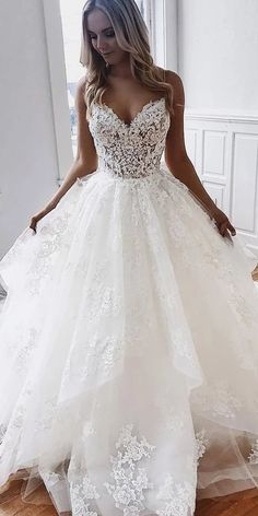 Beautiful V-Neck Lace Bridal Dress,Backless Wedding Gowns,Tulle Wedding Dress - New ideas Spaghetti Strap Wedding Dress, Wedding Dresses With Straps, Wedding Dresses For Girls, Bridal Dresses, Bridesmaid Dresses, Spaghetti Straps, Ruffle Wedding Dresses, Dresses Dresses, Dresses For Weddings