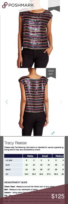 Tracy Reese beaded bateau NWT Multi colored sequin and beaded boat neck tank, lined, AMAZING! New with tags, non smoking home, sold out online Tracy Reese Tops Tank Tops