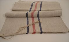 Grain Sack / Antique stairruner / Upholstery fabric / Grainsack / Blue and red stripes by Antiquelinenfashion on Etsy