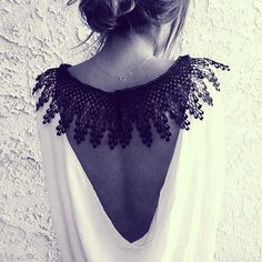 fancy lace back Fashion Mode, Love Fashion, Fashion Beauty, Fashion Details, Fashion Fashion, Fashion Images, Fashion Lookbook, Fashion Trends, Looks Style