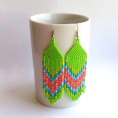 Dangle Beadwoven Earrings-Green Seed Bead от Galiga на Etsy