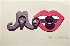 Wedding rings with photobooth props