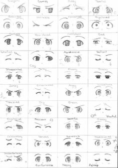 Anime eyes, different expressions, text; How to Draw Manga/Anime