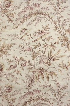 1900 Antique French Pillement Faded c1900 Faded Floral Fabric Material Panel 2 | eBay