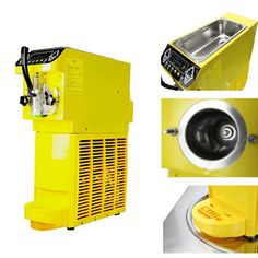 AC 110/220V Small Ice Cream Maker Yellow Commercial Sorbet Machine With Refrigerant