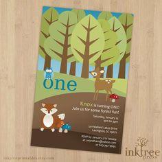 woodland birthday invitation