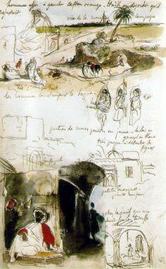 Eugène Delacroix, French, Page From The Moroccan Notebook, Artist Journal, Artist Sketchbook, Art Postal, Travel Sketchbook, William Turner, William Morris, Sketchbook Inspiration, Urban Sketching, Art Graphique