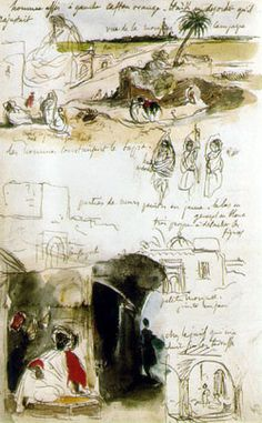 Eugène Delacroix. 1798-1863. Moroccan Notebook. 1832. Brown pen and ink with watercolour