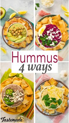 Four new easy ways to enjoy hummus. carbonara recipe easy Hummus 4 Ways: Black Bean, Roasted Garlic, Beet, Avocado Healthy Appetizers, Appetizer Recipes, Healthy Snacks, Healthy Eating, Dinner Recipes, Avocado Hummus, Guacamole Recipe, Garlic Hummus, Humus Recipe
