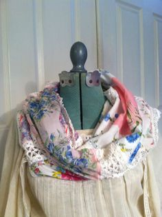 Infinity Handkerchief Scarf  Infinity Scarf by LuvUniqueThings, $24.00    Upcycling & repurposing items is my favorite thing to do!!  Reuse/Recycle!