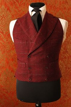 Double-breasted vest checkered burgundy color