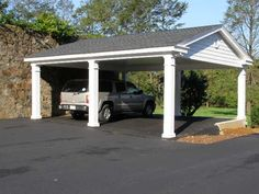 Timber garage with a carport in front of it. Description from pinterest.com. I…