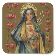 Vintage Immaculate & Sorrowful Heart of Mary Square Sticker - craft supplies diy custom design supply special