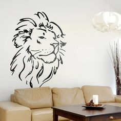Lion Head Wall Sticker. Would want this on my arm or back right shoulder blade