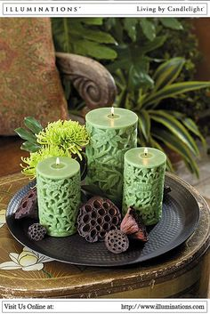 Debossed Bamboo Pillar Candles