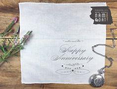 Personalized anniversary men's cotton pocket square