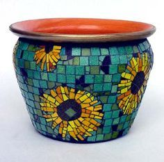 mosaic pots | sunflowers mosaic glass tiles bisazza italian mosaic tile 10 5 inches ...