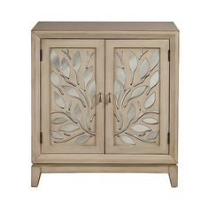 Right  Home Cabinet with Leaf Motif Doors featuring polyvore, home, furniture, storage & shelves, cabinets, brown, door furniture, door storage cabinet, door cabinet, brown cabinets and brown furniture