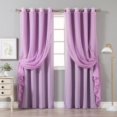 Aurora Home Mix & Match Crushed Voile & Solid Blackout 4 Piece Curtain Panel Set - 52 x 84 (Lilac), Purple(Polyester) Rose Curtains, Home, Home Bedroom, Cool Curtains, Insulated Curtains, Shabby Chic Bathroom Decor, Curtains, Curtain Styles, Home Decor Outlet