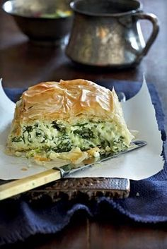 Creamy spinach pie.  I used to live in Michigan.  There was this restaurant called Olga's Kitchen.  THey made the best Spinach pie I have ever tasted!  I hope this one is just as good.  I am so excited to try it out!