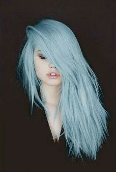 Gorgeous Light Blue Long Straight Hair with Layers