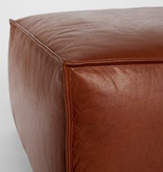 Grant Upholstered Cube Cognac Leather D0491