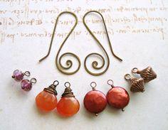 Autumn Interchangeable Earrings Hammered by BellaAnelaJewelry, $29.00
