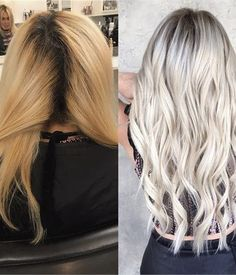 TRANSFORMATION: Grown Out Haircolor (3+ inches) to True Platinum - Hair Color - Modern Salon