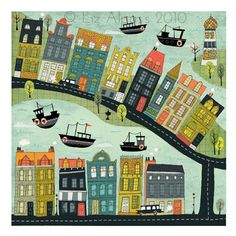 Bord De La Mer - 2 Art print Illustration Design Quirky Houses Town City Colourful Orange Lime Teal