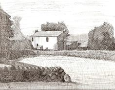 Farmhouse,  line drawing