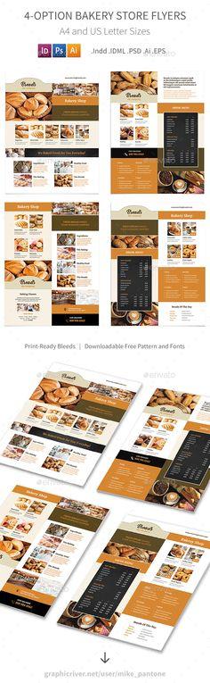 Bakery Store Flyers – 4 Options - Restaurant Flyers