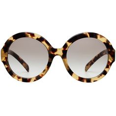 Prada PR06RS Oversize Round Sunglasses ($185) ❤ liked on Polyvore featuring accessories, eyewear, sunglasses, glasses, occhiali, animal prints, cocktail glasses, tortoise sunglasses, brown sunglasses and animal print sunglasses