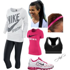 Pink and black worko pink and black workout gear workout clothes cheap, nik Cute Athletic Outfits, Cute Gym Outfits, Sporty Outfits, Workout Attire, Workout Wear, Workout Outfits, Nike Outfits, Nike Sports, Workout Clothes Cheap