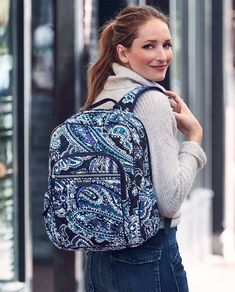 Iconic Campus Backpack in Deep Night Paisley Backpack Bags, Fashion Backpack, School Backpacks, Whats New, Vera Bradley Backpack, Sewing Ideas, Paisley, Addiction, Deep